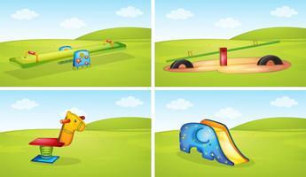 Set di attrezzature per parchi giochi vettore