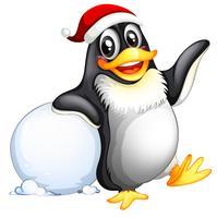 Personaggio pinguino con palla di neve vettore