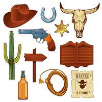 Insieme di elementi di wild west colorato. vettore