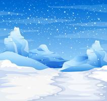 Scena della natura con la neve che cade a terra vettore