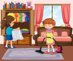 brava ragazza che pulisce il soggiorno vettore