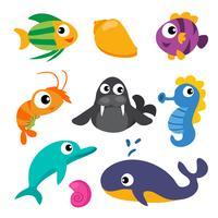 design collezione animali marini vettore