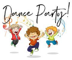 Tre ragazzi che ballano con note musicali sul retro