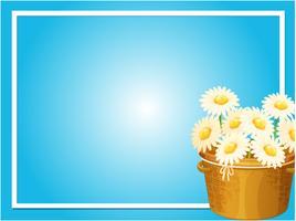 Modello del confine con la merce nel carrello dei fiori bianchi