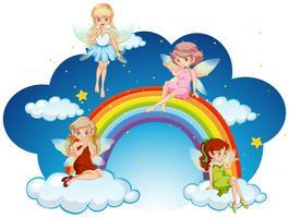 Fate che sorvolano l'arcobaleno vettore