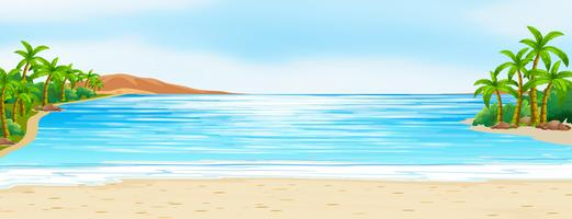 Scena con oceano blu e sabbia bianca vettore