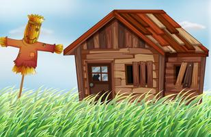 Vecchia casa di legno nel campo