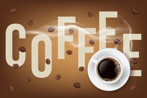 Tazza di caffè riempita e chicchi di caffè con descrizione. Illustrazione vettoriale 3D