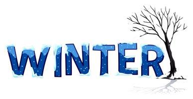 Progettazione di font con inverno di parole vettore