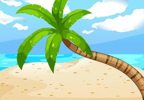 Scena dell'oceano con albero sulla spiaggia