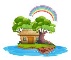 Isola con cottage in legno vettore