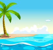 Scena dell'oceano con albero sulla spiaggia vettore