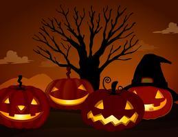 Spooky Pumpkin nella notte di Halloween vettore