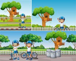 I bambini in bicicletta nel parco vettore