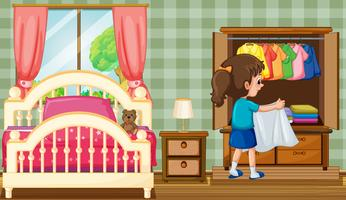 Una ragazza in camera da letto con armadio