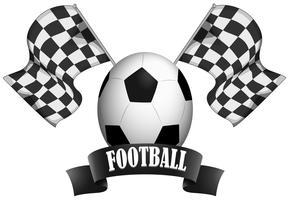 Disegno dell'etichetta con calcio e bandiere