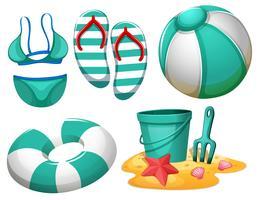 Set di elemento spiaggia vettore