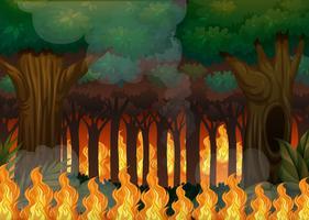 Un incendio violento nella foresta vettore