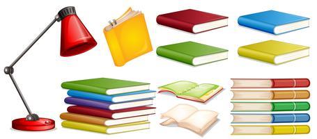 Set di libri diversi vettore
