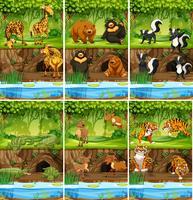 Grande insieme di animali nella giungla vettore