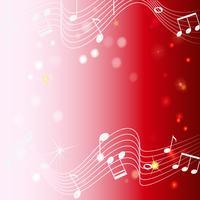 Disegno di sfondo con note musicali su rosso vettore