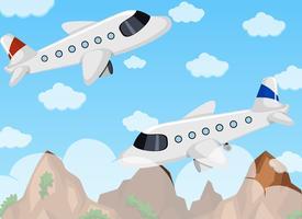 Due aeroplani che volano nel cielo vettore