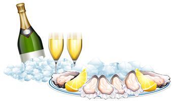 Ostriche fresche e bottiglia di champagne vettore
