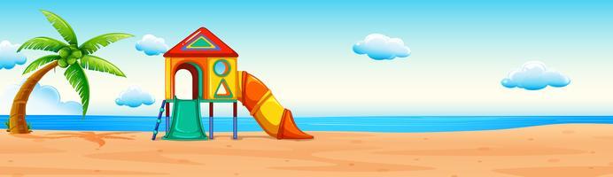 Scena con scivolo sulla spiaggia vettore