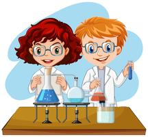 Un esperimento di scienziato in laboratorio