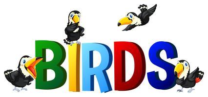 Progettazione di font con uccelli di parola vettore