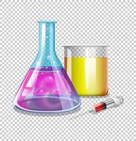 Bicchieri e siringa con liquido all'interno