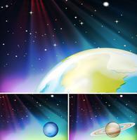 Tre scene spaziali con pianeta e stelle