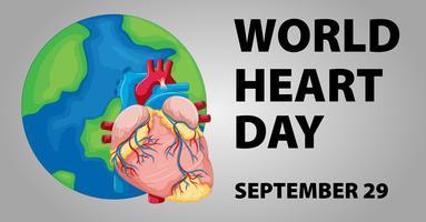 Design di poster per la giornata mondiale del cuore vettore