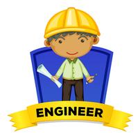 Wordcard di occupazione con l'ingegnere