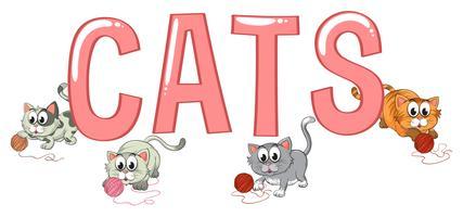 Progettazione di font con gatti di parole vettore