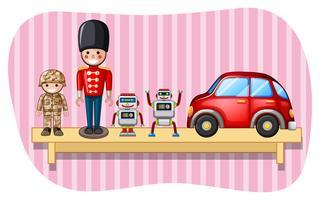 Giocattoli e robot soldato sullo scaffale vettore