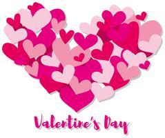 Modello di carta di San Valentino con cuori rosa