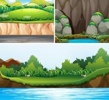 Tre scene di foreste e fiume vettore