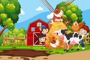 I bambini nella fattoria vettore