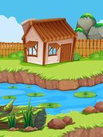 Piccola capanna sul fiume vettore