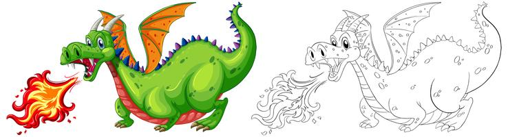 Doodle animale per drago che soffia fuoco