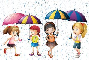 Quattro bambini con ombrello sotto la pioggia vettore
