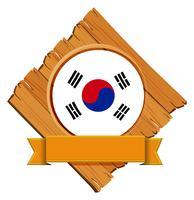 Bandiera della Corea del Sud sul bordo di legno vettore
