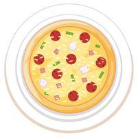 Pizza su sfondo bianco piastra