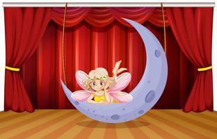 Scena scenica con fata sulla luna vettore