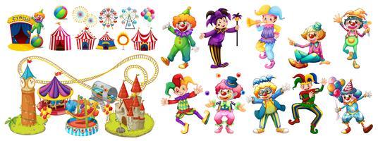 Clown del circo e molte giostre vettore