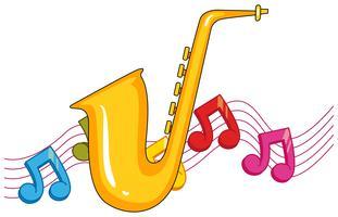 Sassofono con note musicali sullo sfondo