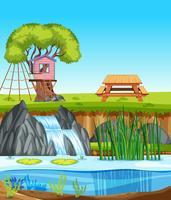 Un paesaggio di natura casa sull'albero vettore