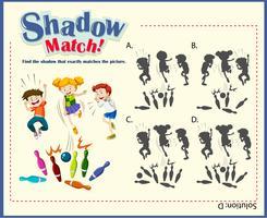 Modello di gioco per l'abbinamento delle ombre con il bowling