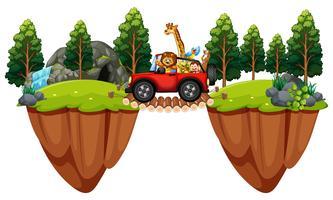 Scena con animali selvaggi nella jeep vettore